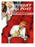 """Man Asleep in Theater,"" Saturday Evening Post Cover, July 27, 1940 Giclee Print by Emery Clarke"