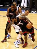 Miami Heat v Dallas Mavericks - Game Five, Dallas, TX -June 9: LeBron James, Chris Bosh and Shawn M Photographic Print by Tom Pennington