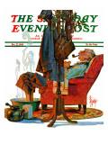 """Postman Soaking Feet,"" Saturday Evening Post Cover, December 21, 1940 Giclee Print by Joseph Christian Leyendecker"