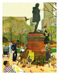 &quot;Romance Under Shakespeare&#39;s Statue,&quot; April 28, 1945 Giclee Print by Mead Schaeffer
