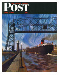 """Ore Barge,"" Saturday Evening Post Cover, June 14, 1947 Giclee Print by John Atherton"