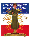 """You're in the Army Now"", Saturday Evening Post Cover, February 1, 1941 Giclee Print by Albert W. Hampson"