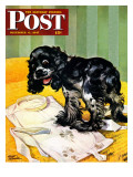 """Muddy Paw Prints,"" Saturday Evening Post Cover, December 6, 1947 Giclee Print by Albert Staehle"