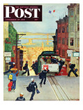 """San Francisco Cable Car,"" Saturday Evening Post Cover, September 29, 1945 Gicléetryck av Mead Schaeffer"