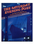 """Nighttime in Port,"" Saturday Evening Post Cover, January 13, 1940 Giclee Print by Ski Weld"