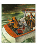 """Deep Sea Fishing in Rain,"" August 31, 1946 Giclee Print by Constantin Alajalov"