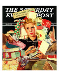 """Store Gift Exchange,"" Saturday Evening Post Cover, January 11, 1941 Giclee Print by Douglas Crockwell"