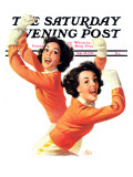 """Twin Cheerleaders,"" Saturday Evening Post Cover, September 28, 1940 Giclee Print by Walt Otto"
