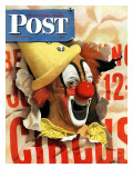 """Circus Clown and Poster,"" Saturday Evening Post Cover, July 8, 1944 Giclee Print by John Atherton"