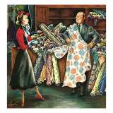 &quot;Fabric Store,&quot; May 22, 1948 Giclee Print by Constantin Alajalov