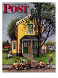 """""""Baseball Player Mowing the Lawn,"""" Saturday Evening Post Cover, July 20, 1946 Giclée-Druck von Stevan Dohanos"""