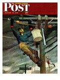 """Telephone Lineman,"" Saturday Evening Post Cover, January 10, 1948 Giclee Print by Mead Schaeffer"