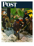 """Shoveling Floral Shop Sidewalk,"" Saturday Evening Post Cover, February 28, 1948 Giclee Print by John Falter"