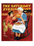 """Grandma and Football,"" Saturday Evening Post Cover, October 26, 1940 Giclee Print by Russell Sambrook"