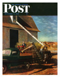 """Storing the Corn,"" Saturday Evening Post Cover, November 6, 1948 Giclee Print by John Atherton"