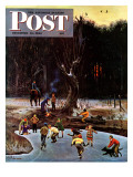 """Night Skating,"" Saturday Evening Post Cover, December 16, 1944 Giclee Print by John Falter"