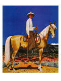 """Cowboy on Palomino,"" September 18, 1943 Giclee Print by Fred Ludekens"