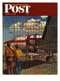 """Boys at Airport,"" Saturday Evening Post Cover, March 30, 1946 Giclee Print by John Atherton"