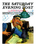 """Singing Telegram,"" Saturday Evening Post Cover, April 13, 1940 Reproduction procédé giclée par Emery Clarke"