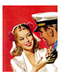 """Naval Officer & Woman,"" August 8, 1942 Giclee Print by Jon Whitcomb"