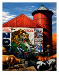"""""""Barnside Circus Poster,"""" August 4, 1945 Giclée-Druck von Stevan Dohanos"""