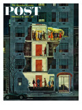 &quot;Party Holding Up the Elevator,&quot; Saturday Evening Post Cover, February 25, 1961 Reproduction proc&#233;d&#233; gicl&#233;e par Ben Kimberly Prins