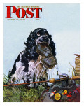 """Butch Fishes for a Shoe,"" Saturday Evening Post Cover, August 21, 1948 Giclee Print by Albert Staehle"