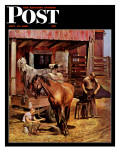 """Blacksmith,"" Saturday Evening Post Cover, July 13, 1946 Giclee Print by John Falter"