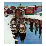 """Gloucester Harbor in Winter,"" February 4, 1961 Giclee Print by John Clymer"