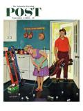 """Putting Around in the Kitchen,"" Saturday Evening Post Cover, September 3, 1960 Impression giclée par Richard Sargent"