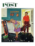 """Putting Around in the Kitchen,"" Saturday Evening Post Cover, September 3, 1960 Impressão giclée por Richard Sargent"
