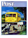 """School Bus,"" Saturday Evening Post Cover, September 2, 1944 Giclee Print by Stevan Dohanos"