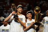 Dallas Mavericks v Miami Heat - Game Six, Miami, FL - June 12: Dirk Nowitzki and Jason Kidd Photographic Print by Garrett Ellwood