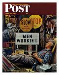 """""""Men Working,"""" Saturday Evening Post Cover, April 12, 1947 Reproduction procédé giclée par Stevan Dohanos"""