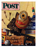 """Still Life of Boys Toys,"" Saturday Evening Post Cover, June 30, 1945 Giclee Print by John Atherton"