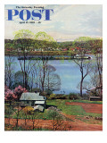 """Ohio River in April,"" Saturday Evening Post Cover, April 15, 1961 Giclee Print by John Clymer"