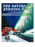 """Highway Snowplow,"" Saturday Evening Post Cover, January 18, 1941 Giclee Print by Ski Weld"