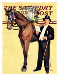 """Big Trophy, Little Girl,"" Saturday Evening Post Cover, November 9, 1940 Giclee Print by Mariam Troop"
