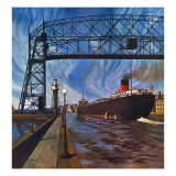 """""""Ore Barge,"""" June 14, 1947 Giclee Print by John Atherton"""