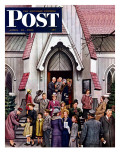 """After Church,"" Saturday Evening Post Cover, April 16, 1949 Giclee Print by Stevan Dohanos"