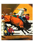 &quot;Bull Riding,&quot; July 21, 1945 Giclee Print by Fred Ludekens