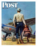 """Flying Cowboy,"" Saturday Evening Post Cover, May 17, 1947 Giclee Print by Mead Schaeffer"