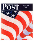 """Old Glory,"" Saturday Evening Post Cover, July 4, 1942 Reproduction procédé giclée par John Clymer"