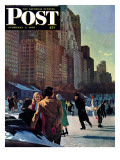 """Skaters in Central Park,"" Saturday Evening Post Cover, February 7, 1948 Giclee Print by John Falter"