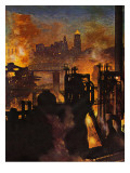 &quot;Steel Mills,&quot; November 23, 1946 Giclee Print by John Atherton