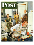 """Gourmet Cook,"" Saturday Evening Post Cover, April 13, 1946 Giclee Print by Constantin Alajalov"