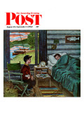 """Dad, the Fish are Biting,"" Saturday Evening Post Cover, August 25, 1962 Giclee Print by Amos Sewell"
