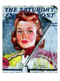 """Rainy Drive,"" Saturday Evening Post Cover, December 7, 1940 Giclee Print by Emery Clarke"