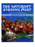"""Orangutans & Bird Nest,"" Saturday Evening Post Cover, February 17, 1940 Giclee Print by Julius Moessel"
