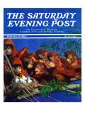 """Orangutans & Bird Nest,"" Saturday Evening Post Cover, February 17, 1940 Giclee Print by Julius Moessel"